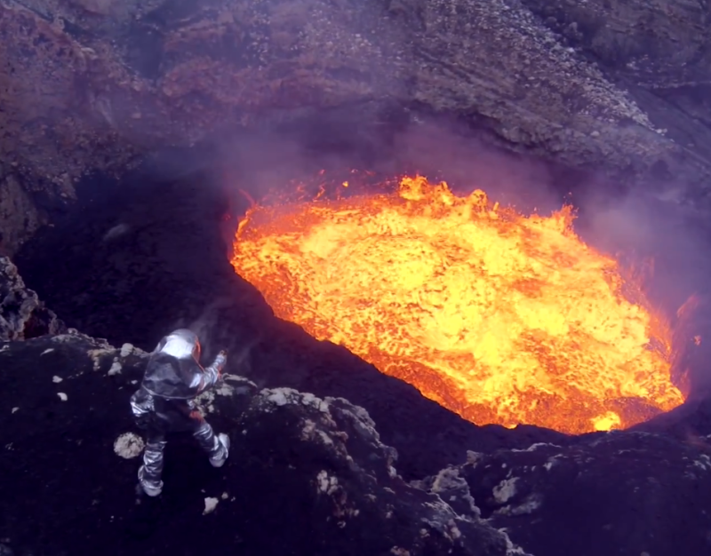 Drone footage of active volcano via theoctopian.com